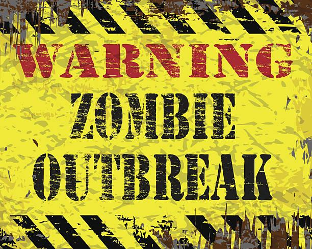 bildbanksillustrationer, clip art samt tecknat material och ikoner med warning zombie outbreak sign - zombie