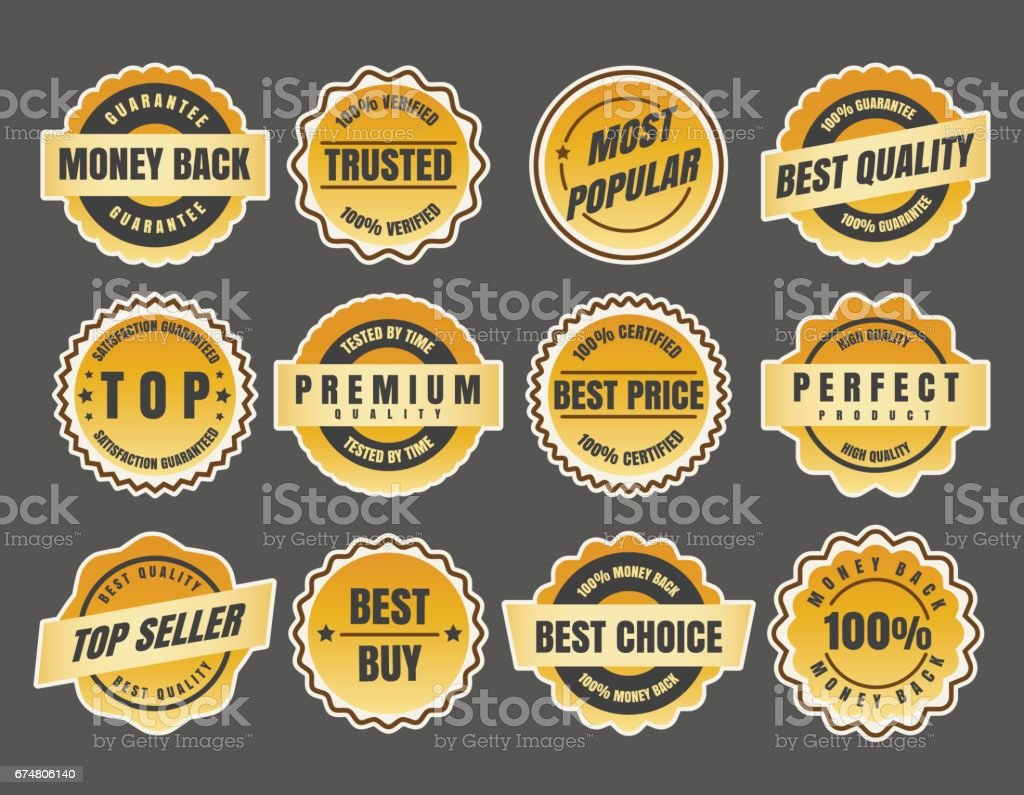 Warranty and guarantee labels vector art illustration