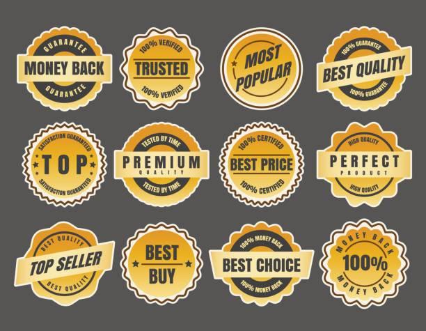 Warranty and guarantee labels vector art illustration