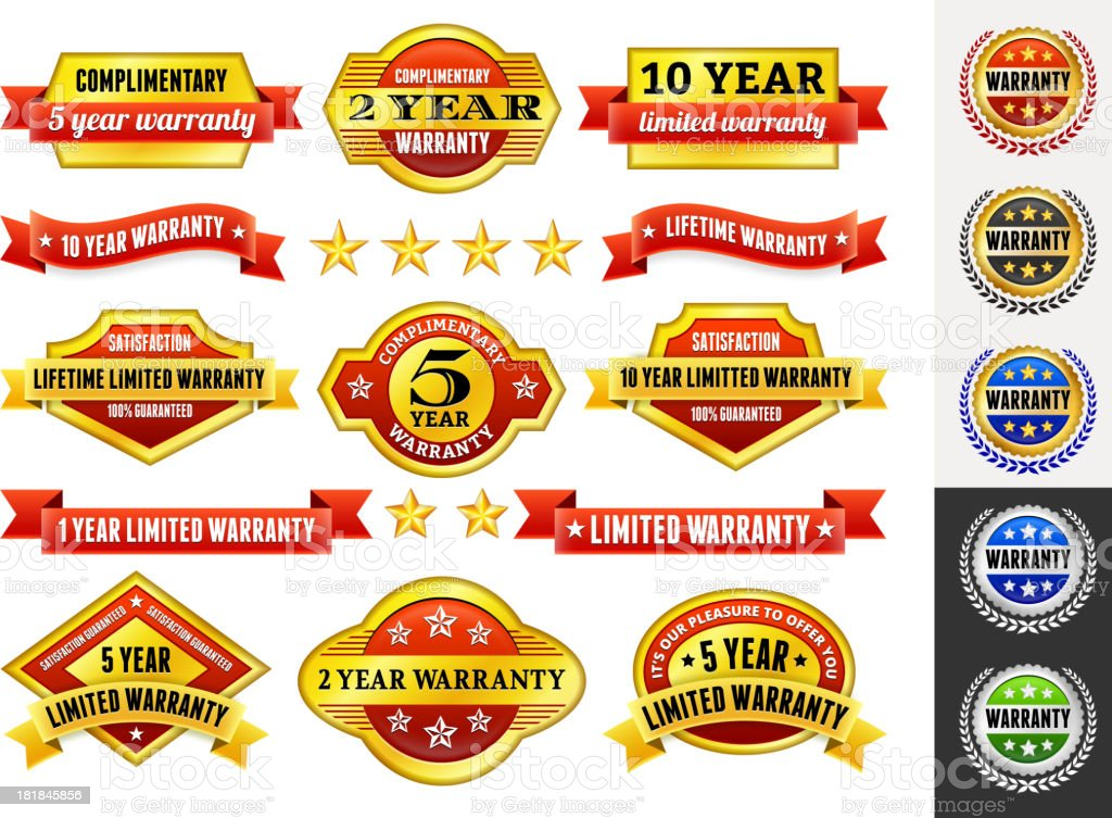 Warranty Badges Red and Gold Collection royalty-free stock vector art