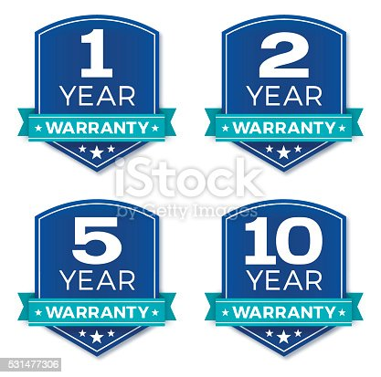 1 year, 2 year, 5 year, 10 year warranty badges. EPS 10 file. Transparency effects used on highlight elements.