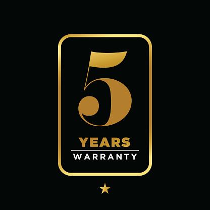Warranty golden badge isolated on black background stock illustration