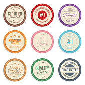 Warranty label set. Colorful modern quality marks badges isolated on white background. Vector