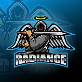Illustration of Warrior angel esport mascot logo design