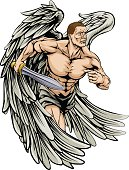 An illustration of a warrior angel character or sports mascot with large wings holding a sword