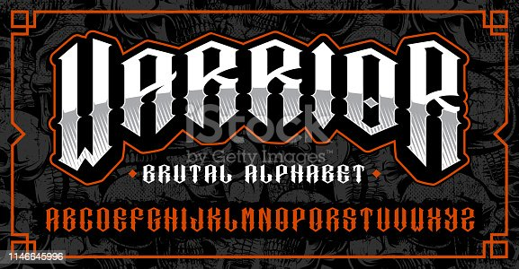 Warrior font. Brutal typeface for posters, shirt designs for themes such as biker, tattoo, rock and roll and many other. All elements on the separate layers.