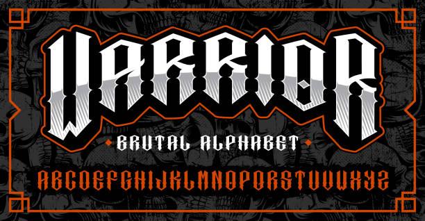 stockillustraties, clipart, cartoons en iconen met warrior font, brutale lettertype voor thema's zoals biker, tattoo, rock and roll en vele andere. - mma