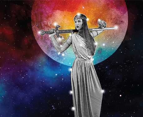 Warrior Goddess constellation with full moon