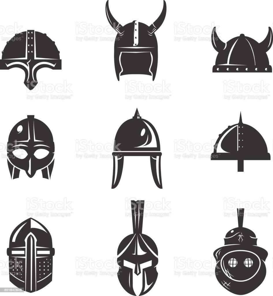 Warrior helmet flat icon set royalty-free warrior helmet flat icon set stock illustration - download image now