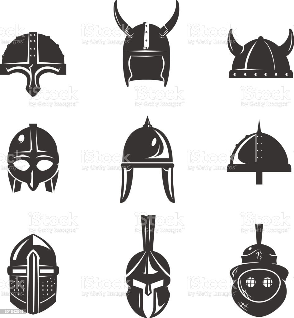 Warrior helmet flat icon set vector art illustration