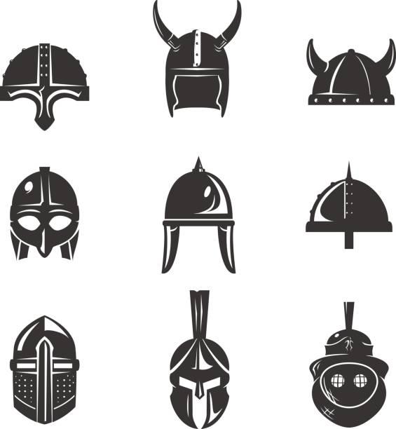 krieger-helm-flache icon-set - sportschutzhelm stock-grafiken, -clipart, -cartoons und -symbole