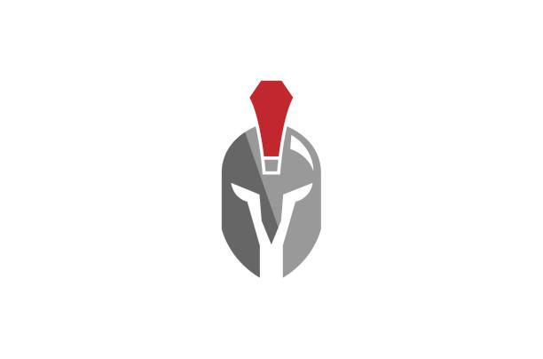 krieger-helm-logo - sportschutzhelm stock-grafiken, -clipart, -cartoons und -symbole
