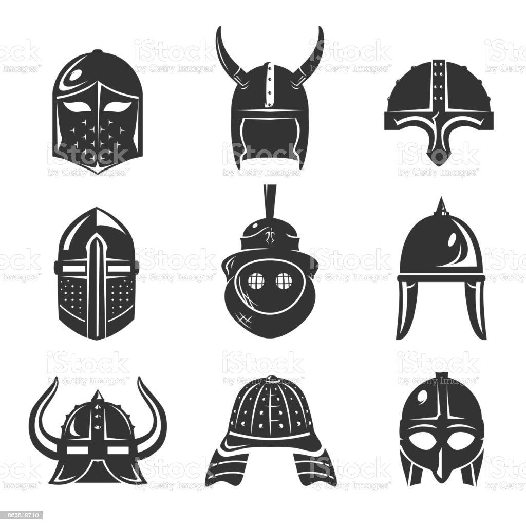 Warrior helmet set vector art illustration