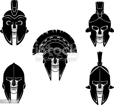 Isolated vector illustration of fantasy death medieval soldier head