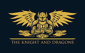 Knight warrior in armor with wings and fantasy dragons - vector silhouette illustration with replaceable text part.