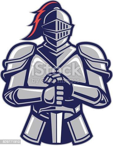 istock Warrior knight mascot 829771910