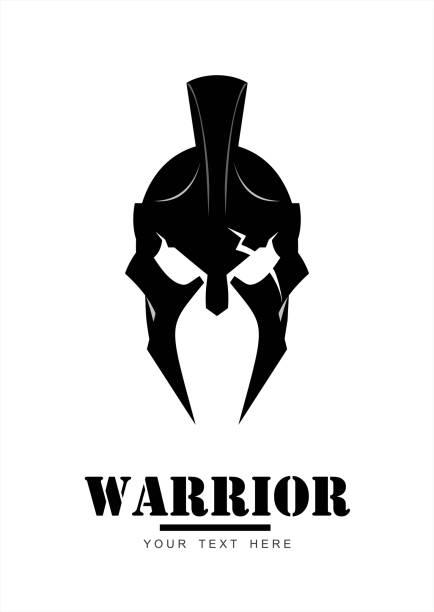 krieger-logo, schwarz sparta krieger kopf - sportschutzhelm stock-grafiken, -clipart, -cartoons und -symbole