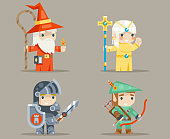 Warrior Mage Priest Archer Fantasy RPG Game Human Elf Character Vector Icons Set Vector Illustration