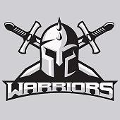 Warrior mascot for sport teams. Helmet with swords, logo, symbol