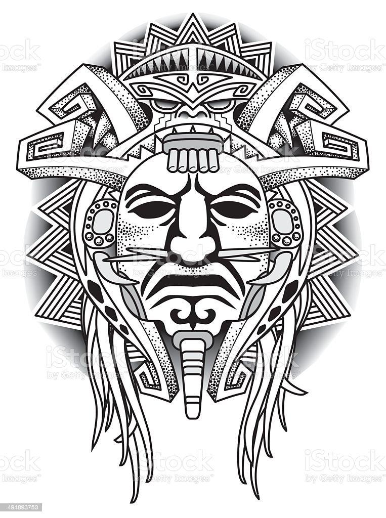 Warrior Tribal Mask Vector illustration vector art illustration