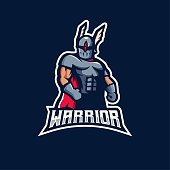 Warrior mascot logo design vector with modern illustration concept style for badge, emblem and t shirt printing. One-eyed superhero character for e-sport team