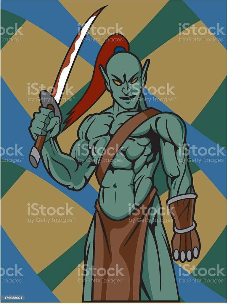 Warrior With Sword royalty-free stock vector art