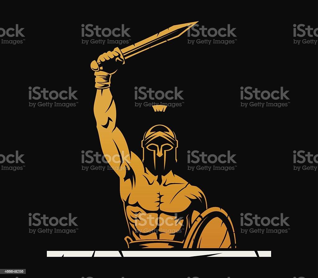 Warrior with sword vector art illustration