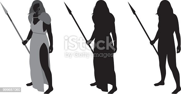 Vector silhouettes of a warrior woman holding a spear.