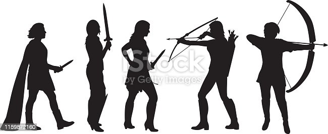 Vector silhouettes of five warrior women holding weapons.