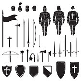 Warriors series - Medieval knights equipment, weapons and armor. Vector.