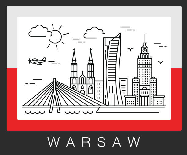 warsaw poland. a view of the city attractions. illustration - polska stock illustrations