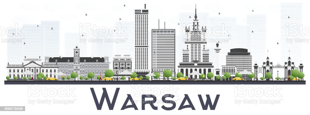 Warsaw Poland City Skyline with Gray Buildings Isolated on White Background. vector art illustration