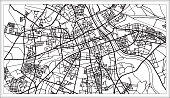 Warsaw Poland Map in Black and White Color. Vector Illustration. Outline Map.