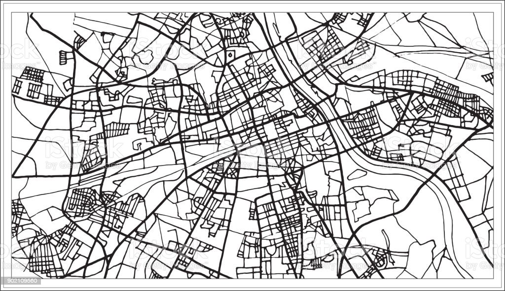 Warsaw Poland Map in Black and White Color. vector art illustration
