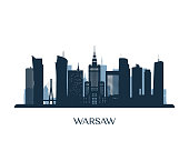 Warsaw skyline, monochrome silhouette. Vector illustration.