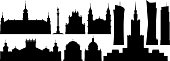 Warsaw skyline. All buildings are complete and moveable.