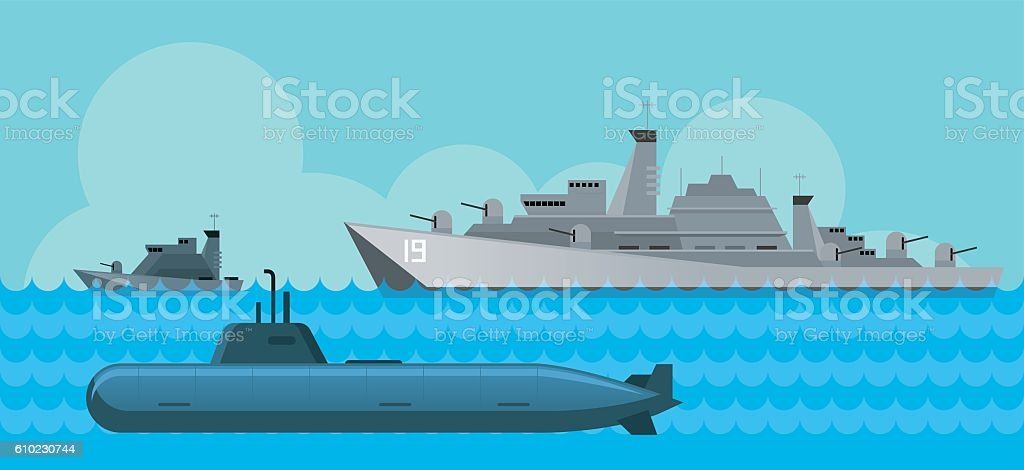 Warship and Submarine, Side View in the Sea vector art illustration