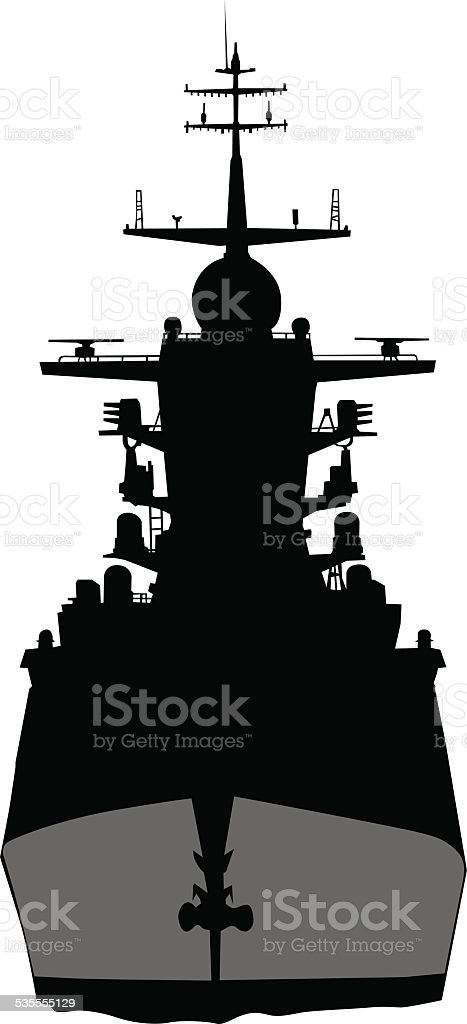 Warship on sea vector art illustration