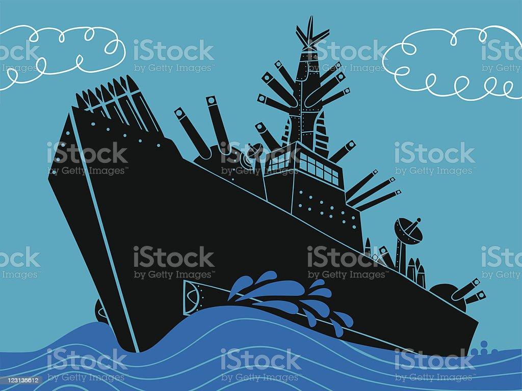 Warship vector art illustration