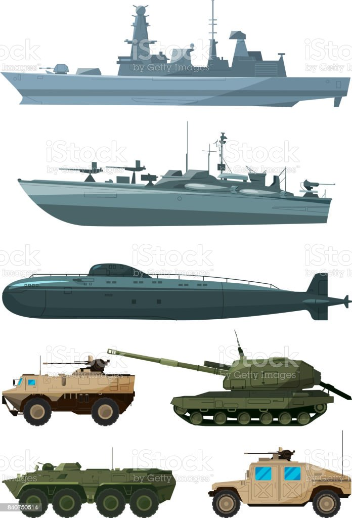 Warships and armored vehicles of land forces. Military transport support vector art illustration