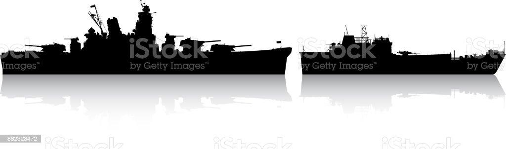 Warships vector art illustration