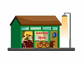 warteg Indonesian traditional restaurant building concept in cartoon illustration vector isolated in white background