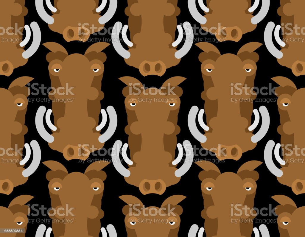 Warthog wild boar seamless pattern. African pig ornament. Wild animal background warthog wild boar seamless pattern african pig ornament wild animal background – cliparts vectoriels et plus d'images de agression libre de droits