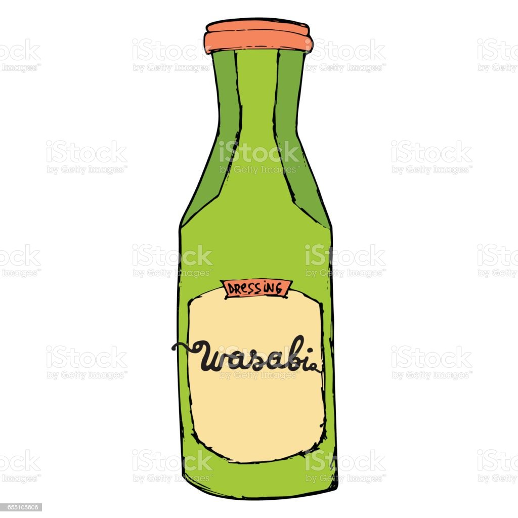 Wasabi bottle isolated on white background. Colorful hand drawn sketching illustration. vector art illustration