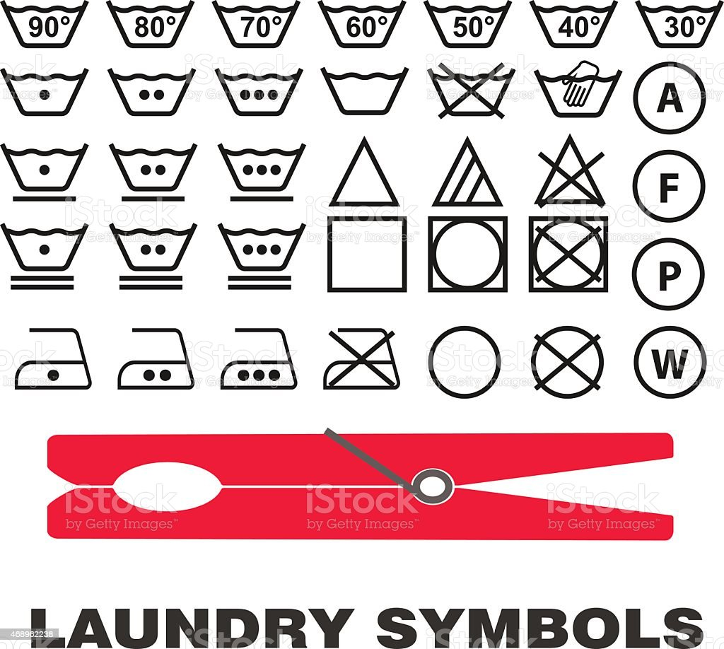 Wash Care Symbols Vector Stock Vector Art More Images Of 2015