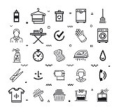 Wash, detergents and hygiene outline style symbols on white background. Line vector icons set for infographics, mobile and web designs.