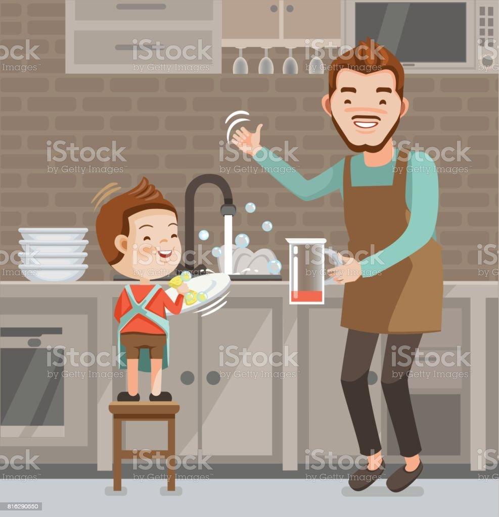 Laver la vaisselle - Illustration vectorielle