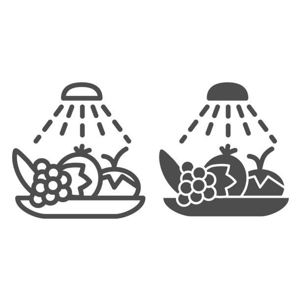 清洗食品衛生線和固體圖示。消毒水果和蔬菜輪廓風格象形圖在白色背景。用於移動概念和網頁設計的冠狀病毒預防標誌。向量圖形。 - 疫病預防 幅插畫檔、美工圖案、卡通及圖標