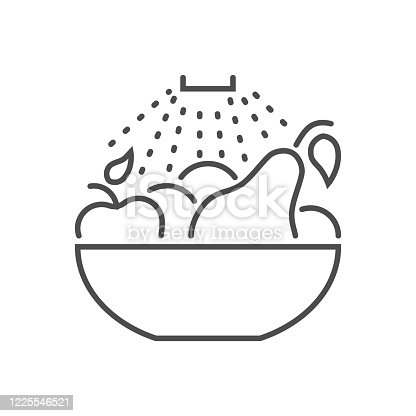Wash fruits related vector thin line icon.