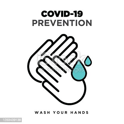 Wash hand icon stock illustration,  Warning sign about coronavirus or covid-19 prevention vector illustration